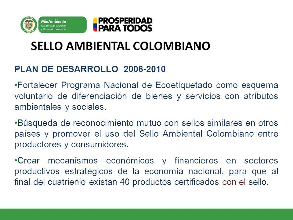 SELLO AMBIENTAL COLOMBIANO PLAN DE DESARROLLO 2006-2010 Fortalecer Programa Nacional de Ecoetiquetado como esquema voluntario de diferenciación de bie