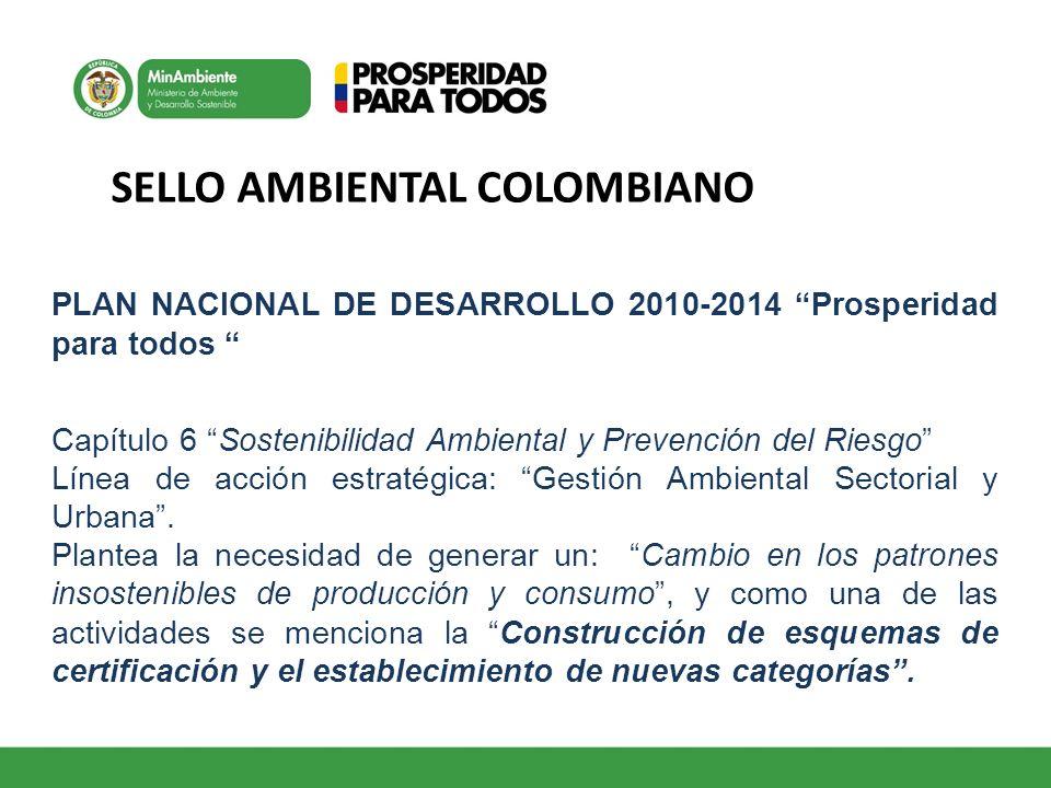 SELLO AMBIENTAL COLOMBIANO PLAN NACIONAL DE DESARROLLO 2010-2014 Prosperidad para todos Capítulo 6 Sostenibilidad Ambiental y Prevención del Riesgo Lí