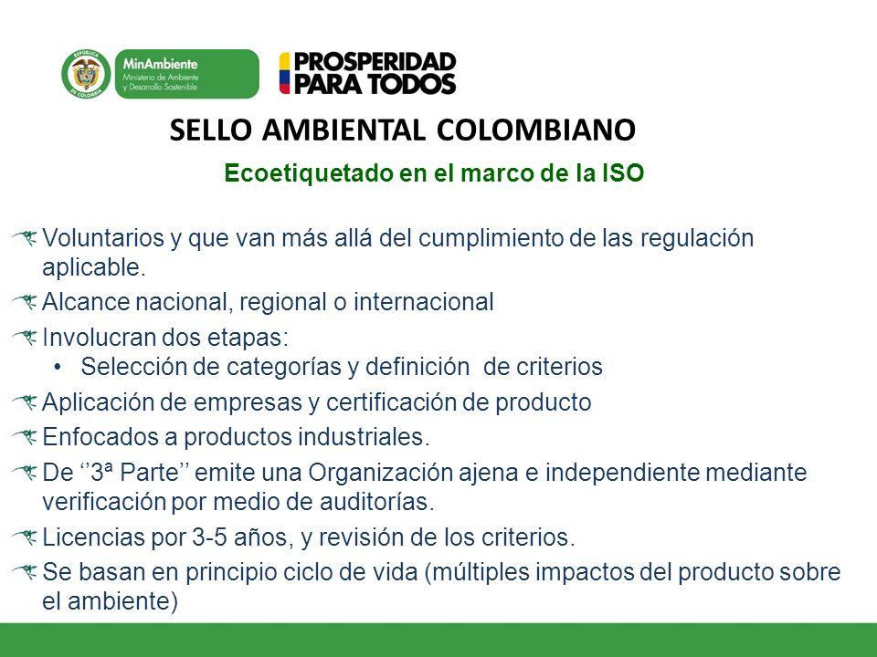 Ecoetiquetado en el marco de la ISO Voluntarios y que van más allá del cumplimiento de las regulación aplicable. Alcance nacional, regional o internac