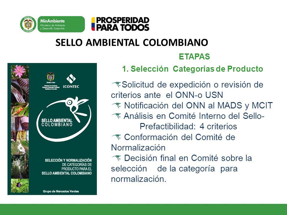 SELLO AMBIENTAL COLOMBIANO ETAPAS 1. Selección Categorías de Producto Solicitud de expedición o revisión de criterios ante el ONN-o USN Notificación d