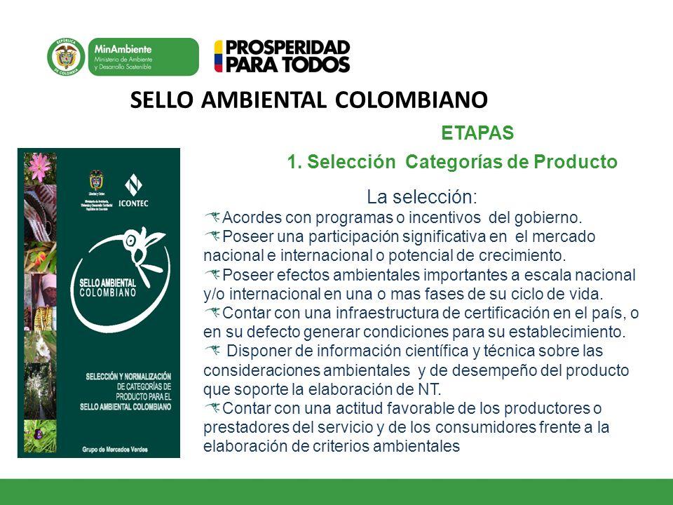 SELLO AMBIENTAL COLOMBIANO ETAPAS 1 1. Selección Categorías de Producto La selección: Acordes con programas o incentivos del gobierno. Poseer una part