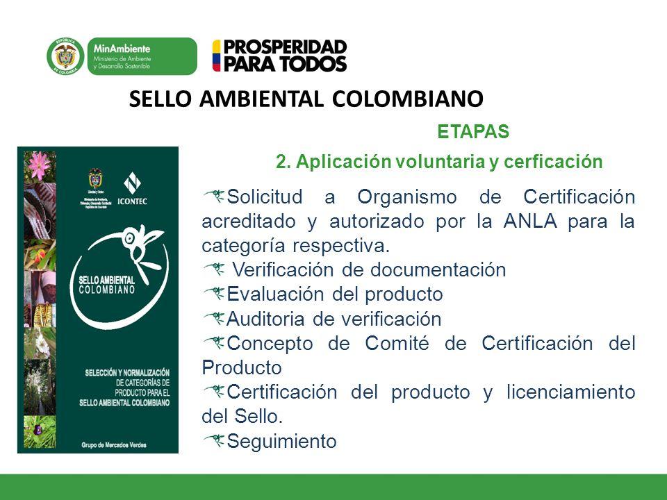 SELLO AMBIENTAL COLOMBIANO ETAPAS 1 2. Aplicación voluntaria y cerficación Solicitud a Organismo de Certificación acreditado y autorizado por la ANLA