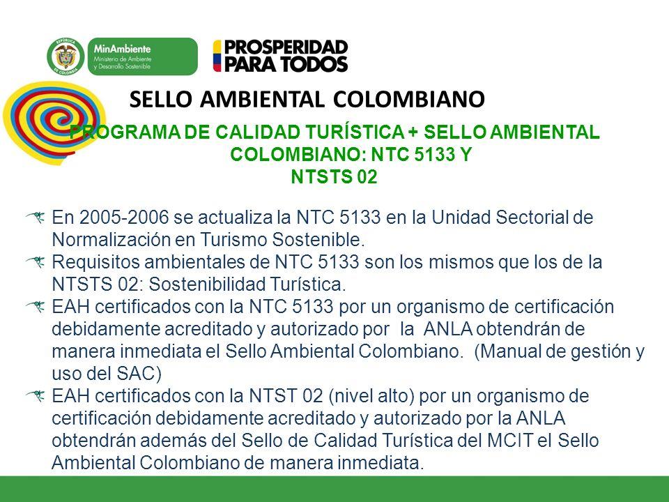 SELLO AMBIENTAL COLOMBIANO PROGRAMA DE CALIDAD TURÍSTICA + SELLO AMBIENTAL COLOMBIANO: NTC 5133 Y NTSTS 02 En 2005-2006 se actualiza la NTC 5133 en la