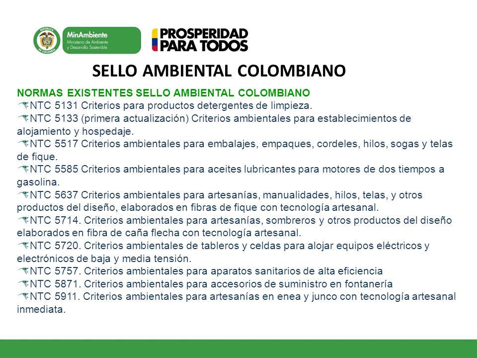 SELLO AMBIENTAL COLOMBIANO NORMAS EXISTENTES SELLO AMBIENTAL COLOMBIANO NTC 5131 Criterios para productos detergentes de limpieza. NTC 5133 (primera a
