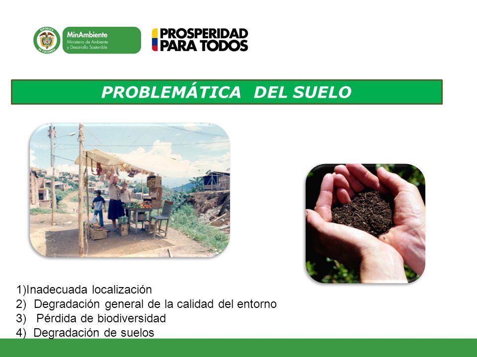 PROBLEMÁTICA DEL SUELO 1)Inadecuada localización 2)Degradación general de la calidad del entorno 3) Pérdida de biodiversidad 4) Degradación de suelos