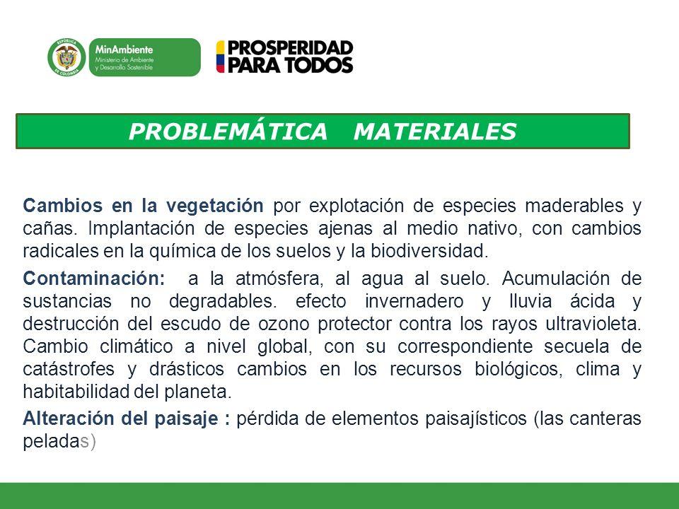 PROBLEMÁTICA MATERIALES Cambios en la vegetación por explotación de especies maderables y cañas. Implantación de especies ajenas al medio nativo, con