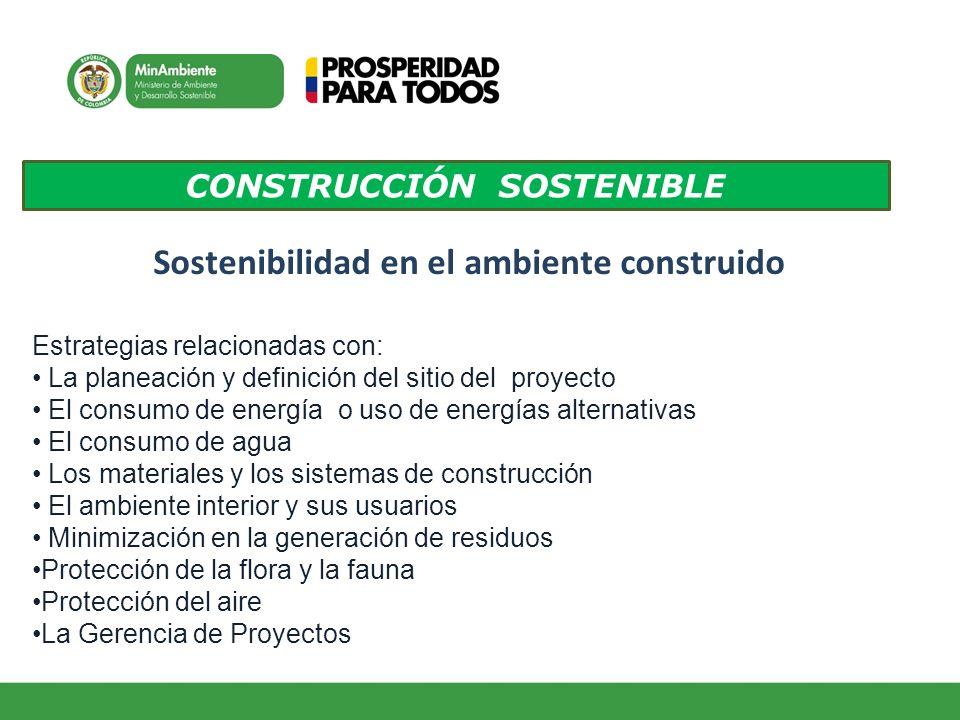 CONSTRUCCIÓN SOSTENIBLE Sostenibilidad en el ambiente construido Estrategias relacionadas con: La planeación y definición del sitio del proyecto El co