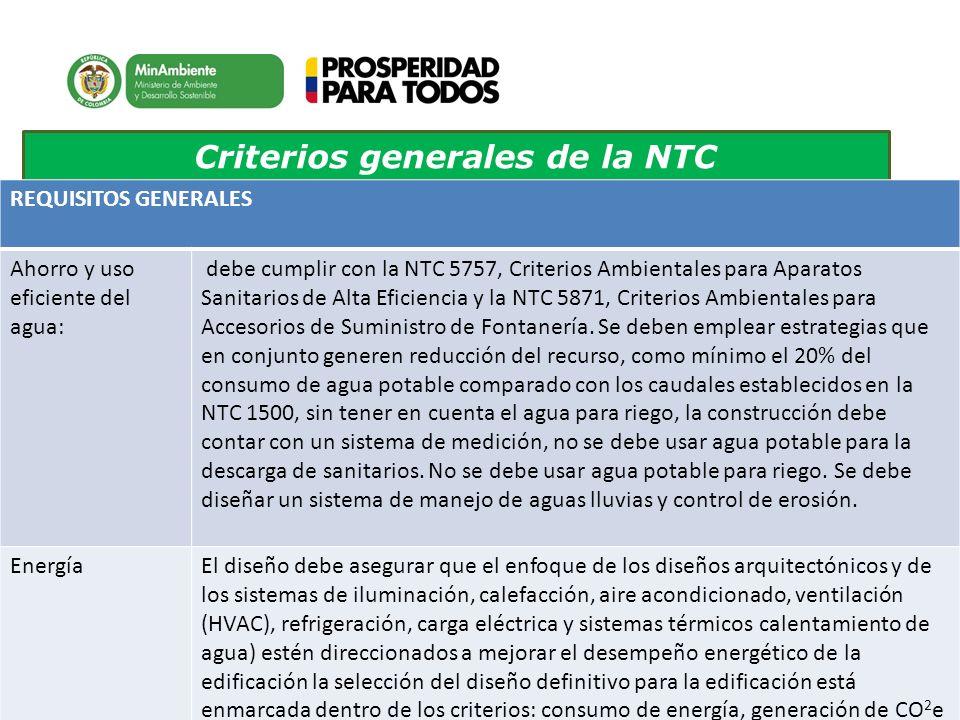 Criterios generales de la NTC REQUISITOS GENERALES Ahorro y uso eficiente del agua: debe cumplir con la NTC 5757, Criterios Ambientales para Aparatos