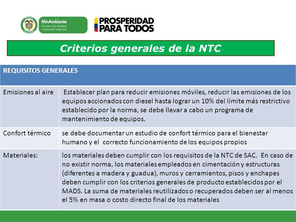 Criterios generales de la NTC REQUISITOS GENERALES Emisiones al aire Establecer plan para reducir emisiones móviles, reducir las emisiones de los equi