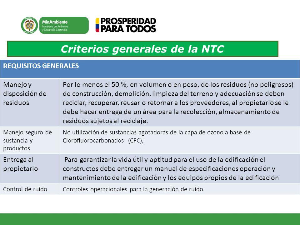 Criterios generales de la NTC REQUISITOS GENERALES Manejo y disposición de residuos Por lo menos el 50 %, en volumen o en peso, de los residuos (no pe