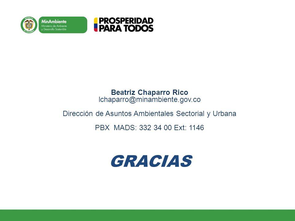 Beatriz Chaparro Rico lchaparro@minambiente.gov.co Dirección de Asuntos Ambientales Sectorial y Urbana PBX MADS: 332 34 00 Ext: 1146 GRACIAS