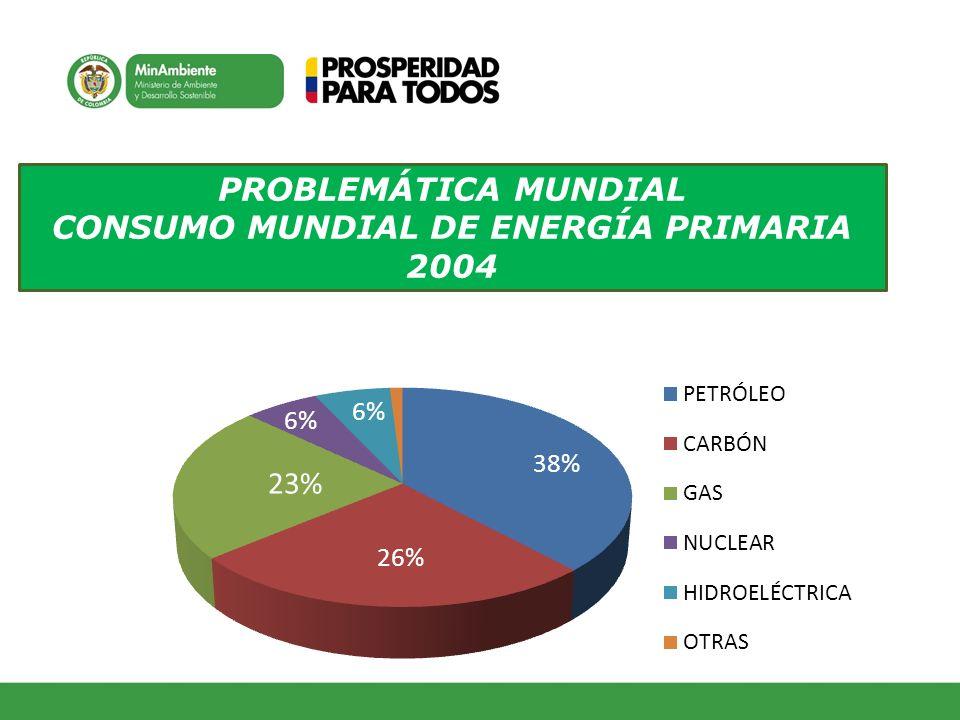 PROBLEMÁTICA MUNDIAL CONSUMO MUNDIAL DE ENERGÍA PRIMARIA 2004
