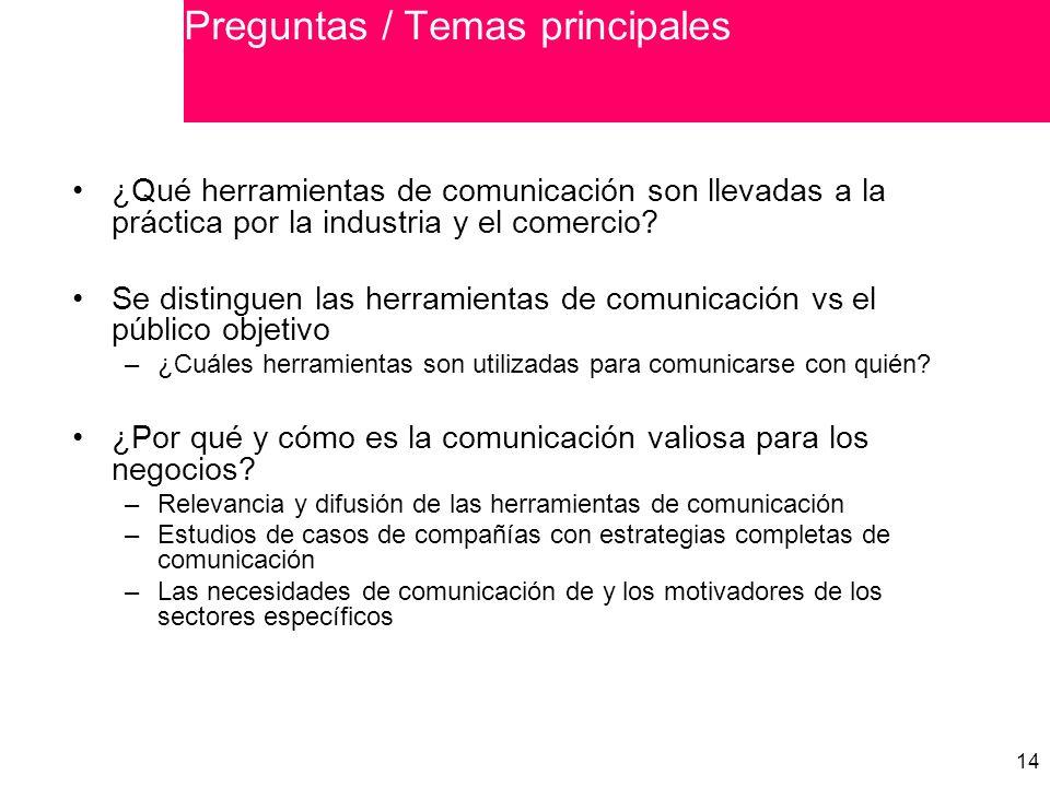 14 ¿Qué herramientas de comunicación son llevadas a la práctica por la industria y el comercio.