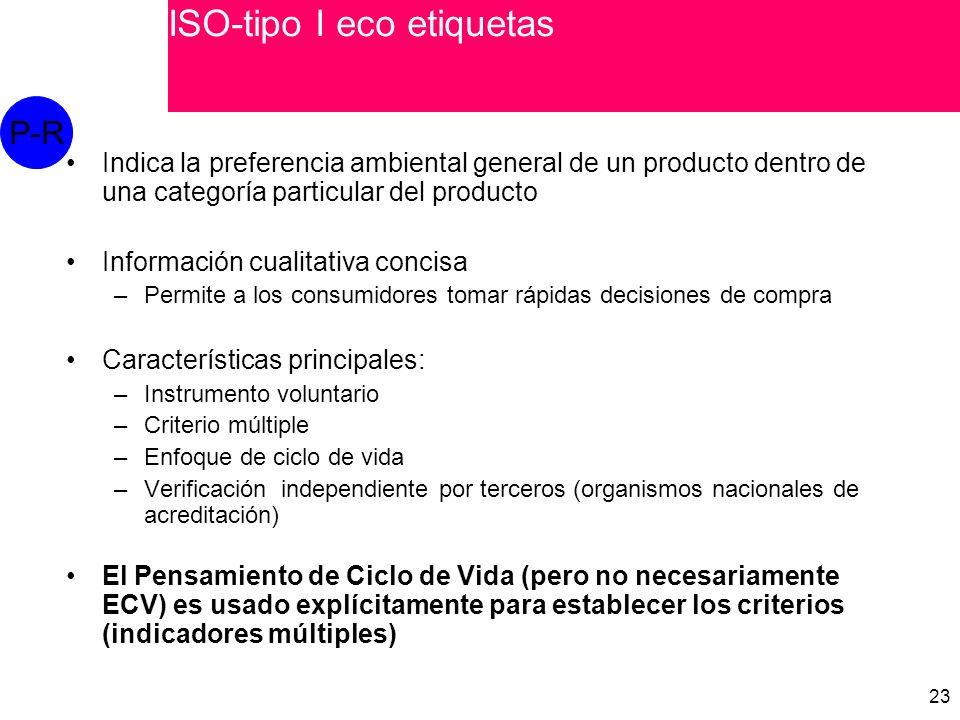 23 Indica la preferencia ambiental general de un producto dentro de una categoría particular del producto Información cualitativa concisa –Permite a los consumidores tomar rápidas decisiones de compra Características principales: –Instrumento voluntario –Criterio múltiple –Enfoque de ciclo de vida –Verificación independiente por terceros (organismos nacionales de acreditación) El Pensamiento de Ciclo de Vida (pero no necesariamente ECV) es usado explícitamente para establecer los criterios (indicadores múltiples) P-R ISO-tipo I eco etiquetas
