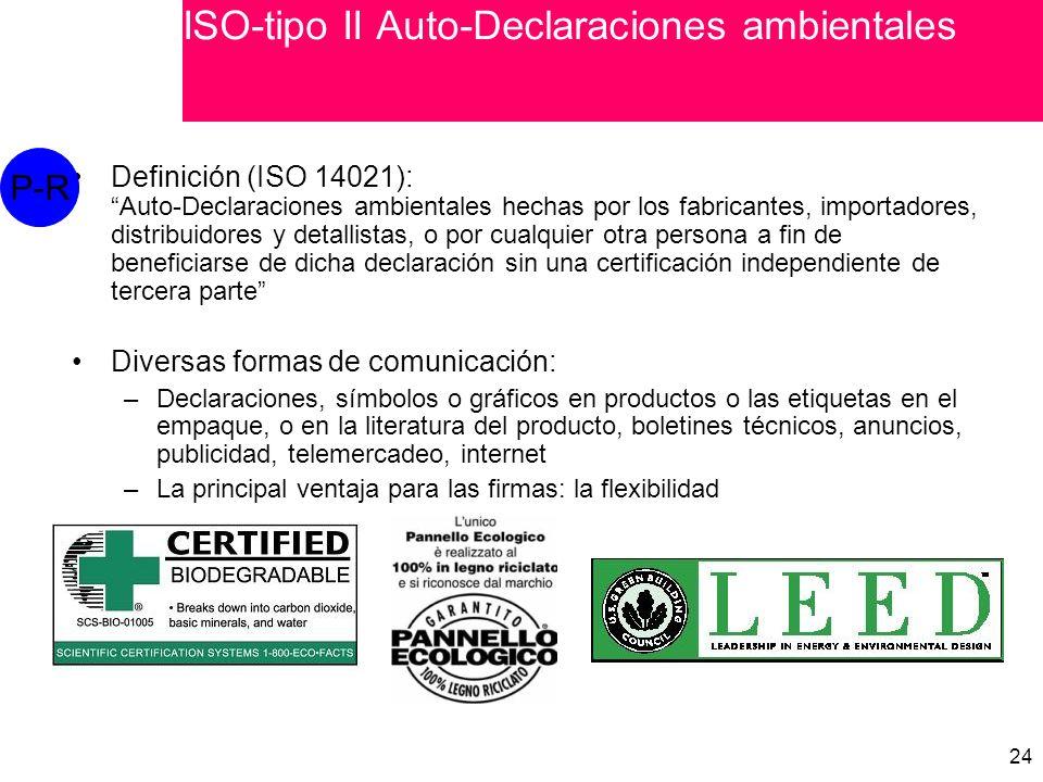 24 Definición (ISO 14021): Auto-Declaraciones ambientales hechas por los fabricantes, importadores, distribuidores y detallistas, o por cualquier otra persona a fin de beneficiarse de dicha declaración sin una certificación independiente de tercera parte Diversas formas de comunicación: –Declaraciones, símbolos o gráficos en productos o las etiquetas en el empaque, o en la literatura del producto, boletines técnicos, anuncios, publicidad, telemercadeo, internet –La principal ventaja para las firmas: la flexibilidad P-R ISO-tipo II Auto-Declaraciones ambientales