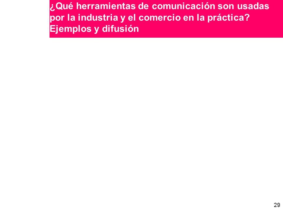 29 ¿Qué herramientas de comunicación son usadas por la industria y el comercio en la práctica.