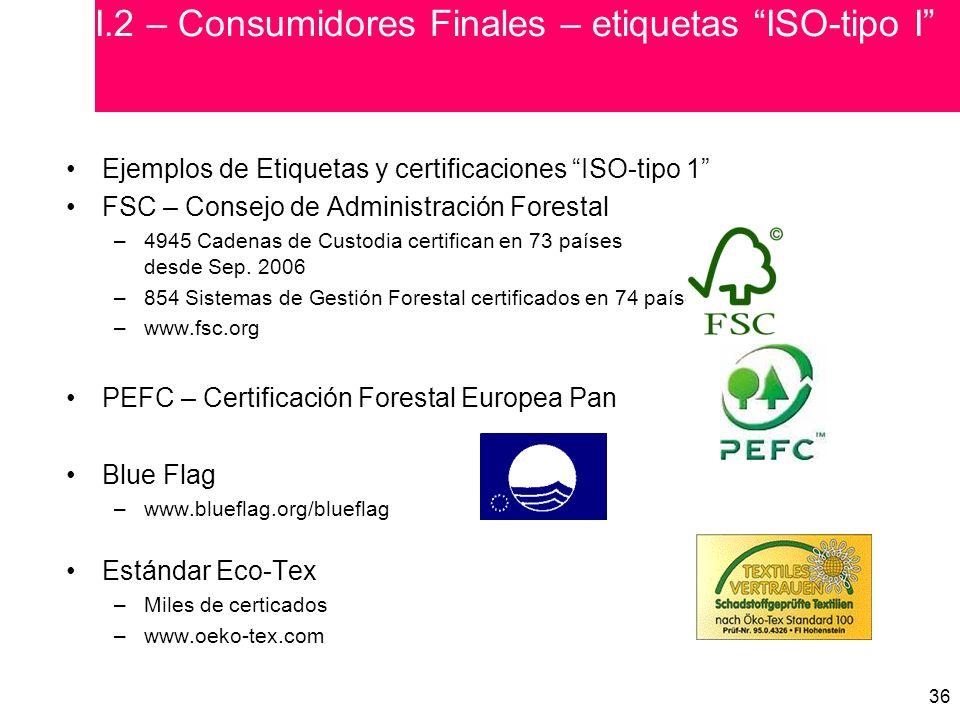 36 Ejemplos de Etiquetas y certificaciones ISO-tipo 1 FSC – Consejo de Administración Forestal –4945 Cadenas de Custodia certifican en 73 países desde Sep.
