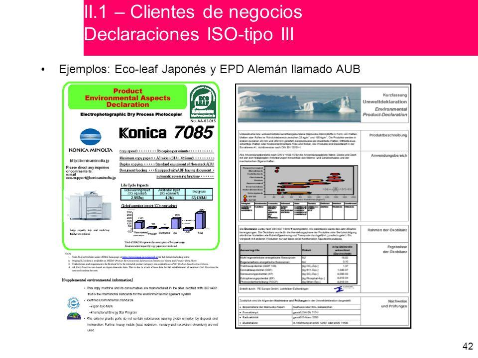 42 Ejemplos: Eco-leaf Japonés y EPD Alemán llamado AUB II.1 – Clientes de negocios Declaraciones ISO-tipo III