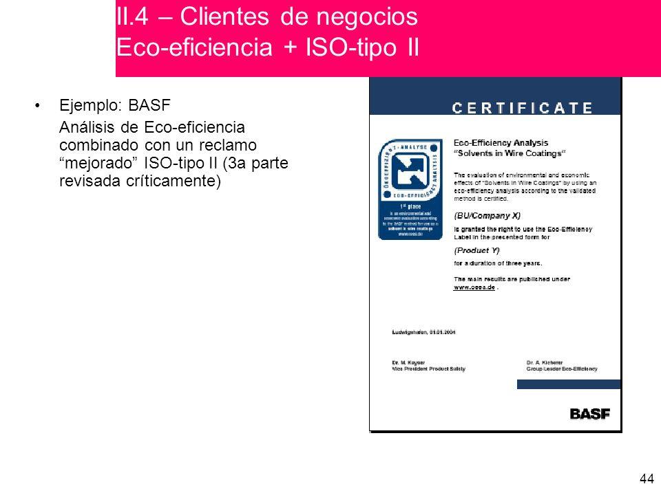 44 Ejemplo: BASF Análisis de Eco-eficiencia combinado con un reclamo mejorado ISO-tipo II (3a parte revisada críticamente) II.4 – Clientes de negocios Eco-eficiencia + ISO-tipo II