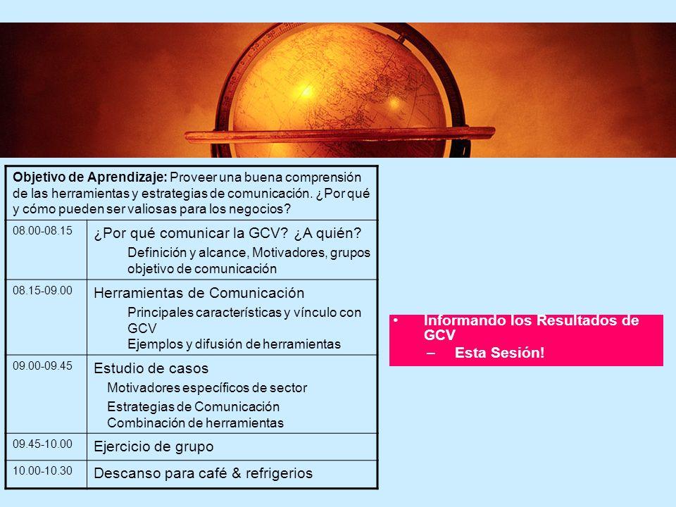 86 Capacitación en Gestión de Ciclo de Vida - Resumen Introducción a GCV –Primera Sesión Cómo se usa la GCV en la práctica –Segunda Sesión Comunicando los resultados de GCV –Esta Sesión.