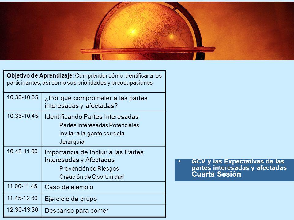 6 6 GCV y las Expectativas de las partes interesadas y afectadas Cuarta Sesión Objetivo de Aprendizaje: Comprender cómo identificar a los participantes, así como sus prioridades y preocupaciones 10.30-10.35 ¿Por qué comprometer a las partes interesadas y afectadas.