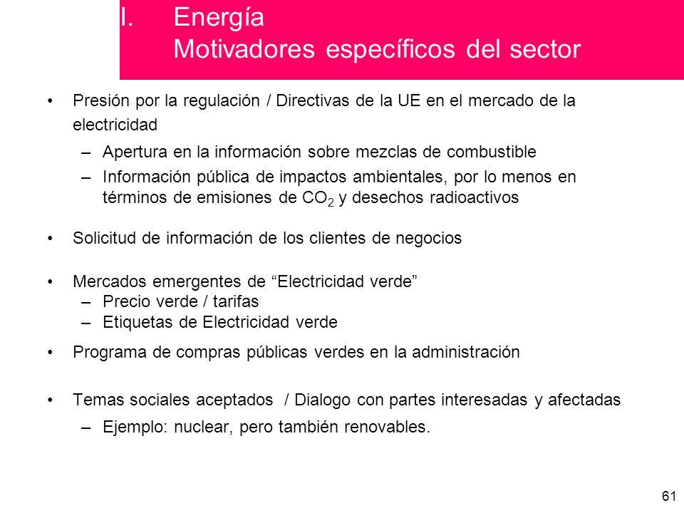 61 Presión por la regulación / Directivas de la UE en el mercado de la electricidad –Apertura en la información sobre mezclas de combustible –Información pública de impactos ambientales, por lo menos en términos de emisiones de CO 2 y desechos radioactivos Solicitud de información de los clientes de negocios Mercados emergentes de Electricidad verde –Precio verde / tarifas –Etiquetas de Electricidad verde Programa de compras públicas verdes en la administración Temas sociales aceptados / Dialogo con partes interesadas y afectadas –Ejemplo: nuclear, pero también renovables.