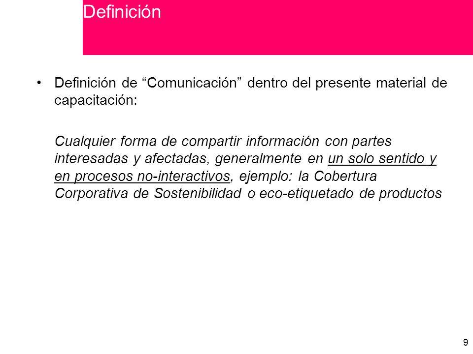 9 9 Definición de Comunicación dentro del presente material de capacitación: Cualquier forma de compartir información con partes interesadas y afectadas, generalmente en un solo sentido y en procesos no-interactivos, ejemplo: la Cobertura Corporativa de Sostenibilidad o eco-etiquetado de productos Definición