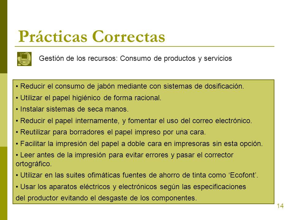 14 Prácticas Correctas Gestión de los recursos: Consumo de productos y servicios Reducir el consumo de jabón mediante con sistemas de dosificación. Ut
