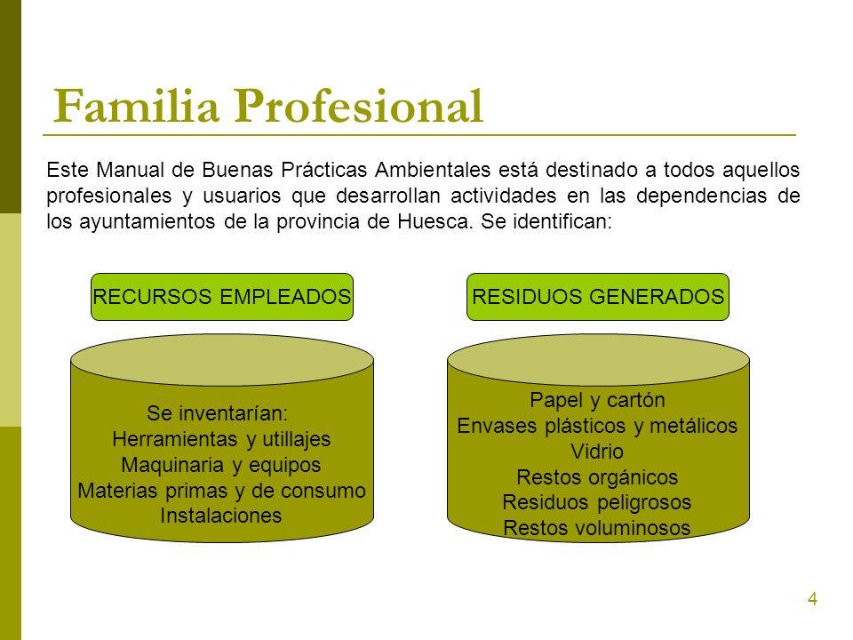 4 Familia Profesional Este Manual de Buenas Prácticas Ambientales está destinado a todos aquellos profesionales y usuarios que desarrollan actividades