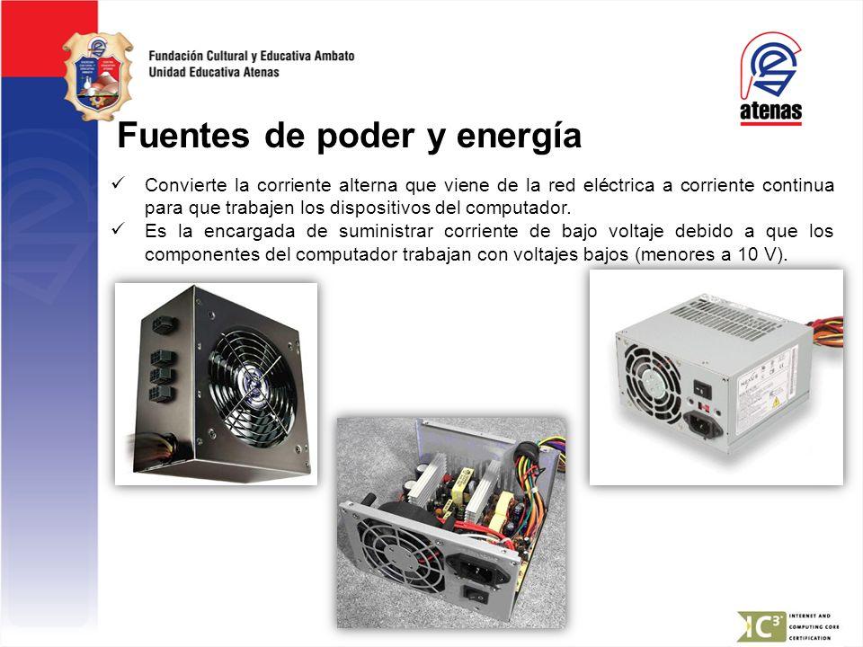 Fuentes de poder y energía Convierte la corriente alterna que viene de la red eléctrica a corriente continua para que trabajen los dispositivos del co