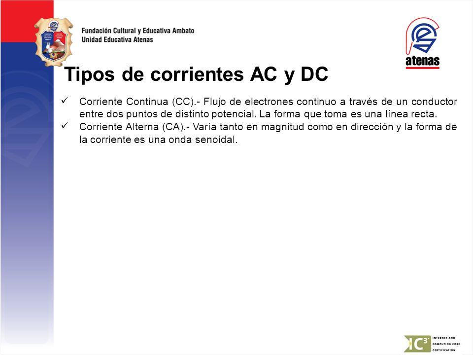 Tipos de corrientes AC y DC Corriente Continua (CC).- Flujo de electrones continuo a través de un conductor entre dos puntos de distinto potencial. La
