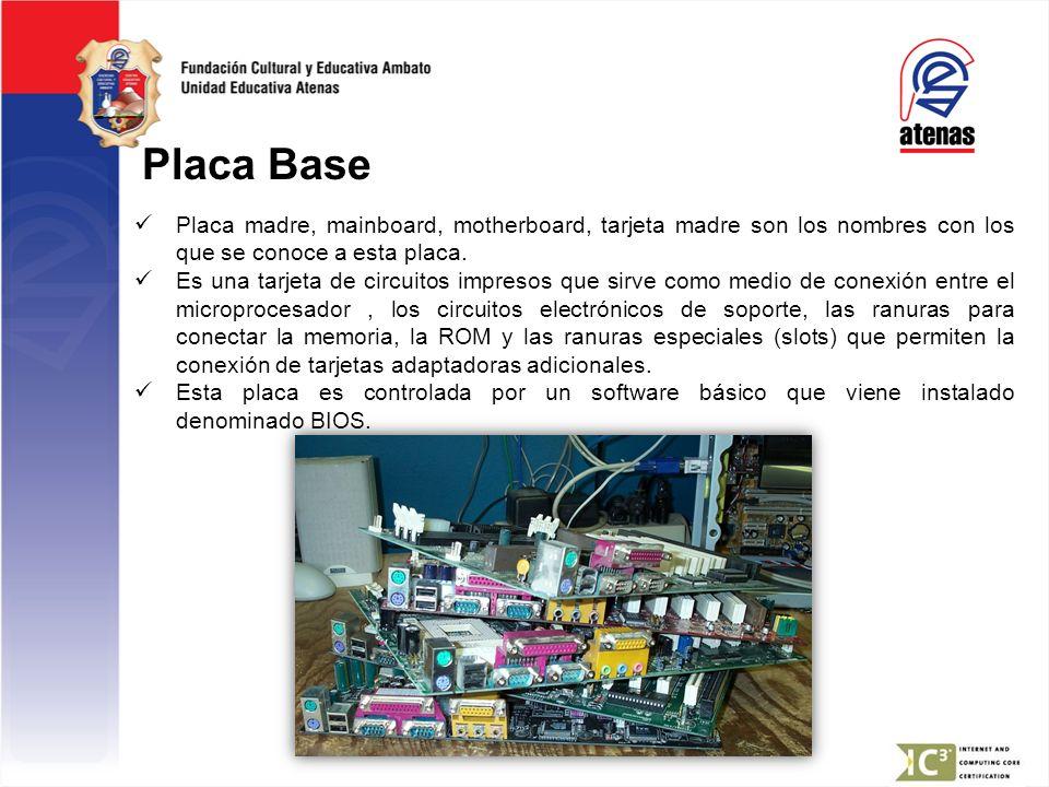 Placa Base Placa madre, mainboard, motherboard, tarjeta madre son los nombres con los que se conoce a esta placa. Es una tarjeta de circuitos impresos