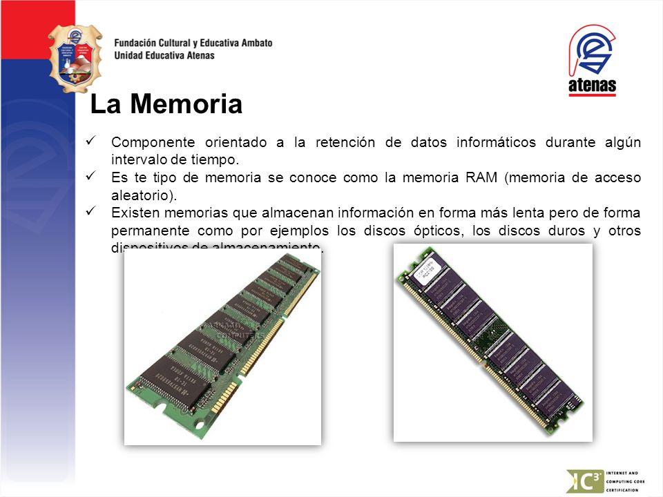 La Memoria Componente orientado a la retención de datos informáticos durante algún intervalo de tiempo. Es te tipo de memoria se conoce como la memori