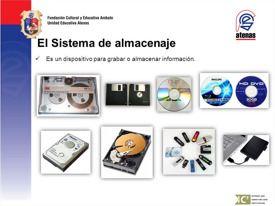 El Sistema de almacenaje Es un dispositivo para grabar o almacenar información.