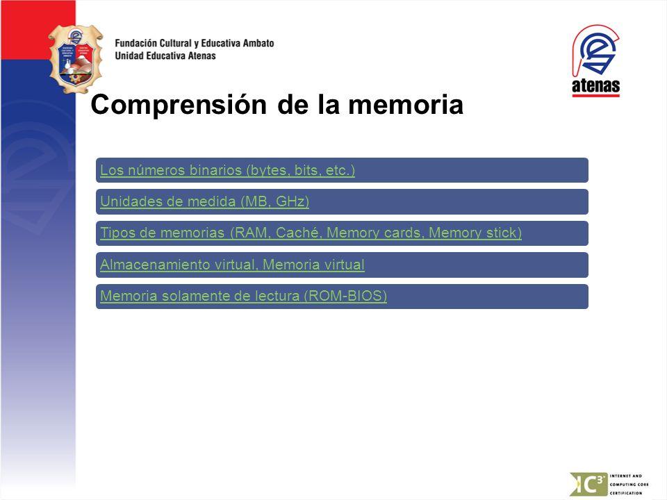 Comprensión de la memoria Los números binarios (bytes, bits, etc.)Unidades de medida (MB, GHz)Tipos de memorias (RAM, Caché, Memory cards, Memory stic