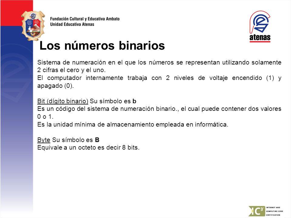 Los números binarios Sistema de numeración en el que los números se representan utilizando solamente 2 cifras el cero y el uno. El computador internam