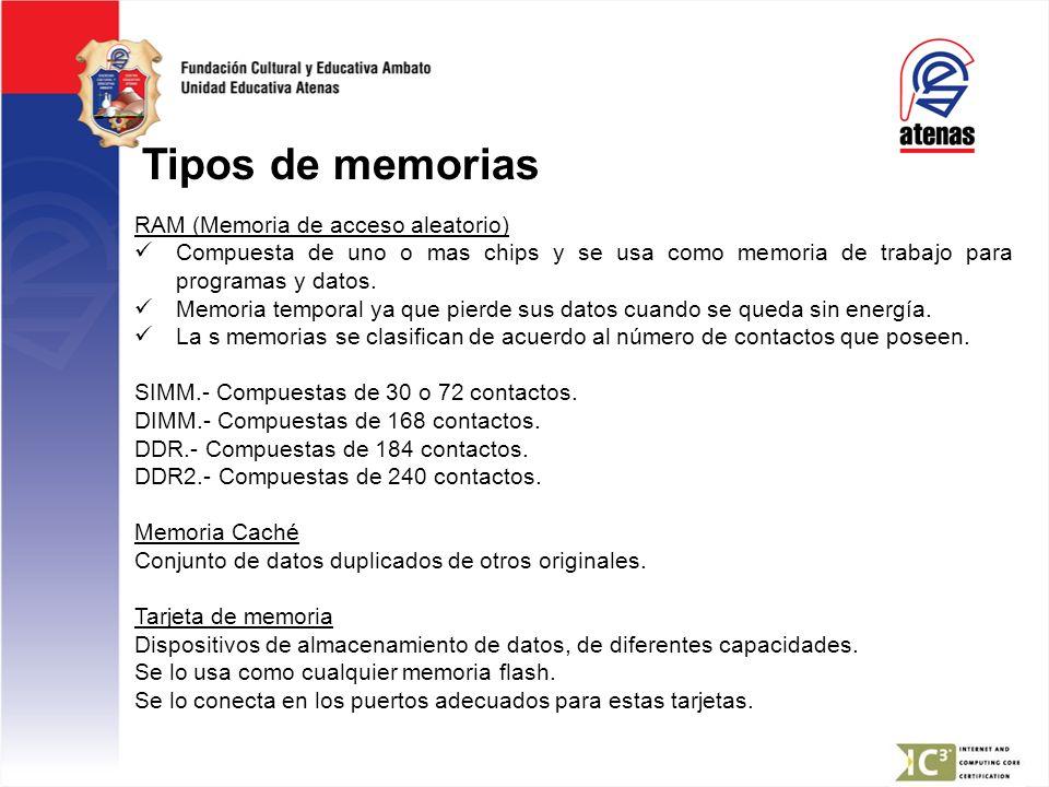 Tipos de memorias RAM (Memoria de acceso aleatorio) Compuesta de uno o mas chips y se usa como memoria de trabajo para programas y datos. Memoria temp
