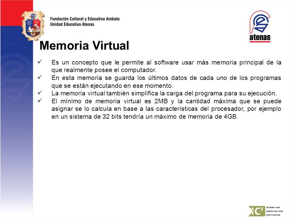 Memoria Virtual Es un concepto que le permite al software usar más memoria principal de la que realmente posee el computador. En esta memoria se guard