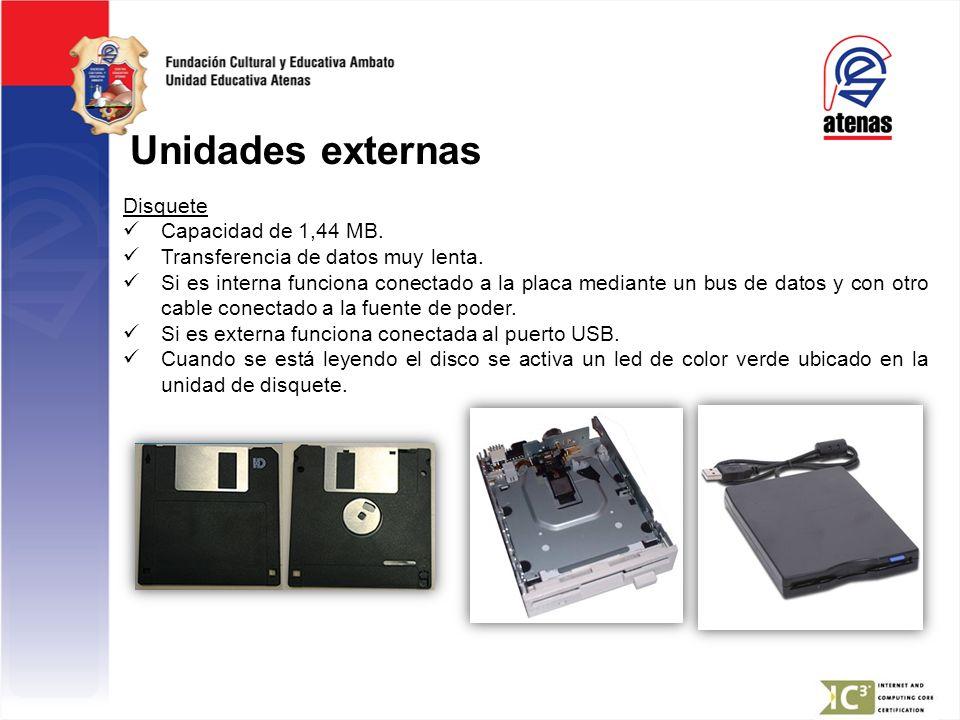 Unidades externas Disquete Capacidad de 1,44 MB. Transferencia de datos muy lenta. Si es interna funciona conectado a la placa mediante un bus de dato