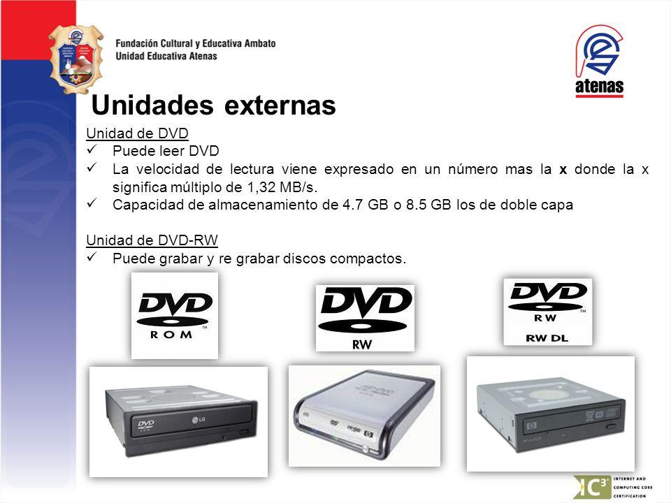 Unidades externas Unidad de DVD Puede leer DVD La velocidad de lectura viene expresado en un número mas la x donde la x significa múltiplo de 1,32 MB/