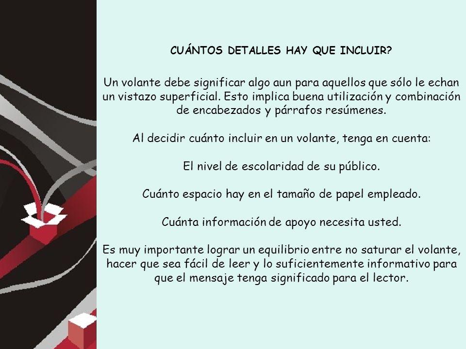 CUÁNTOS DETALLES HAY QUE INCLUIR.