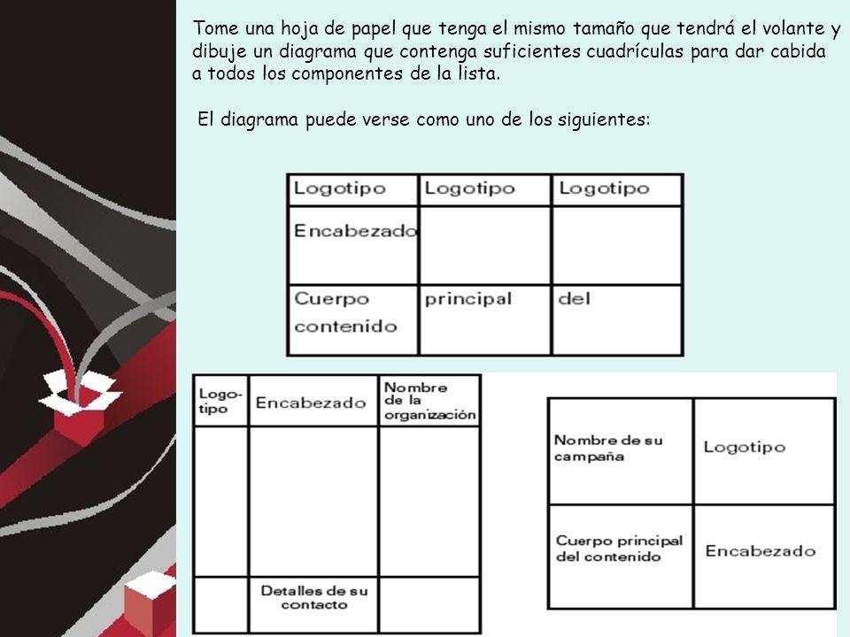 Tome una hoja de papel que tenga el mismo tamaño que tendrá el volante y dibuje un diagrama que contenga suficientes cuadrículas para dar cabida a todos los componentes de la lista.