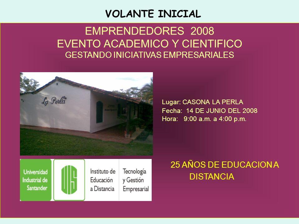 EMPRENDEDORES 2008 EVENTO ACADEMICO Y CIENTIFICO GESTANDO INICIATIVAS EMPRESARIALES Lugar: CASONA LA PERLA Fecha: 14 DE JUNIO DEL 2008 Hora: 9:00 a.m.