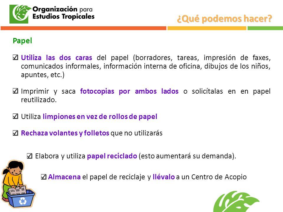 Papel Utiliza las dos caras del papel (borradores, tareas, impresión de faxes, comunicados informales, información interna de oficina, dibujos de los
