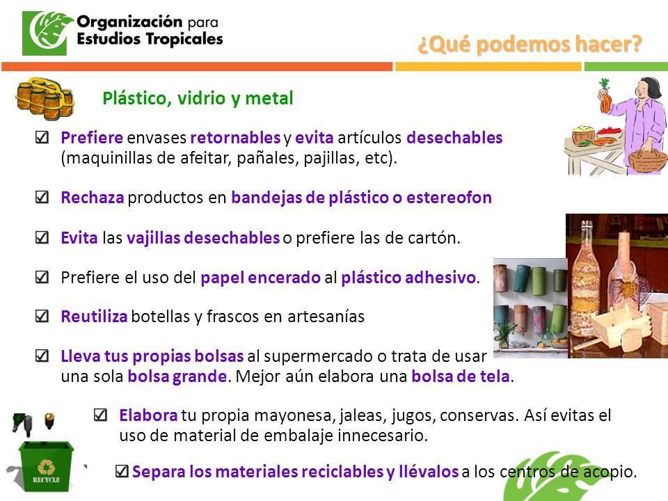 Plástico, vidrio y metal Prefiere envases retornables y evita artículos desechables (maquinillas de afeitar, pañales, pajillas, etc). Rechaza producto