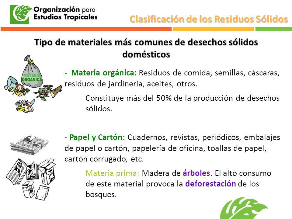 Tipo de materiales más comunes de desechos sólidos domésticos - Materia orgánica: Residuos de comida, semillas, cáscaras, residuos de jardinería, acei