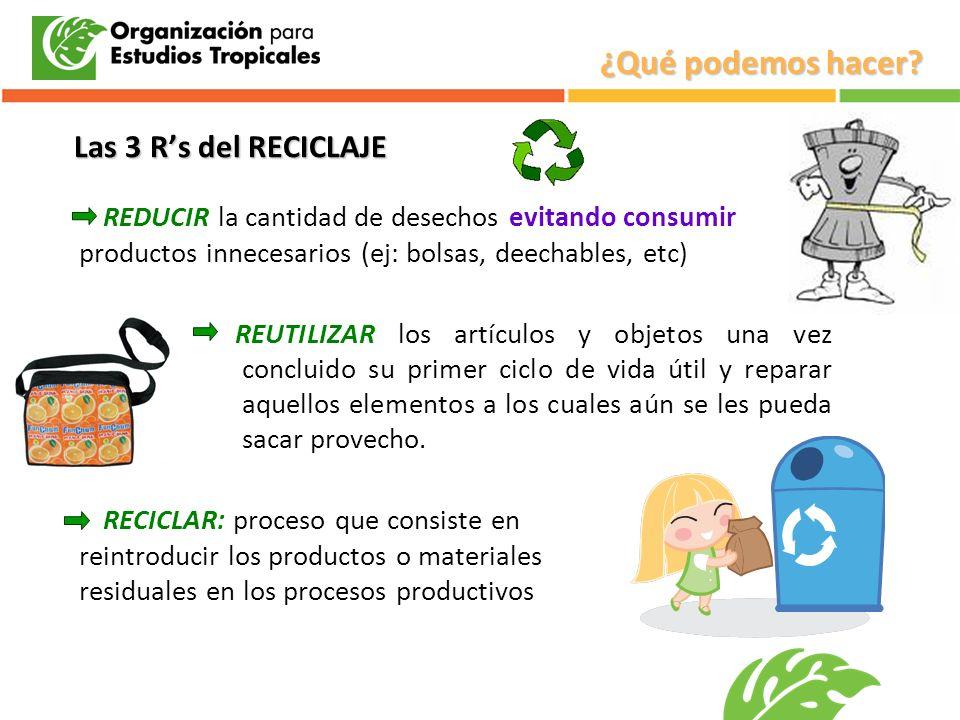 REDUCIR la cantidad de desechos evitando consumir productos innecesarios (ej: bolsas, deechables, etc) REUTILIZAR los artículos y objetos una vez conc