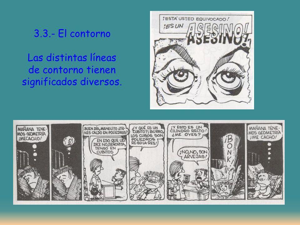 3.3.- El contorno Las distintas líneas de contorno tienen significados diversos.