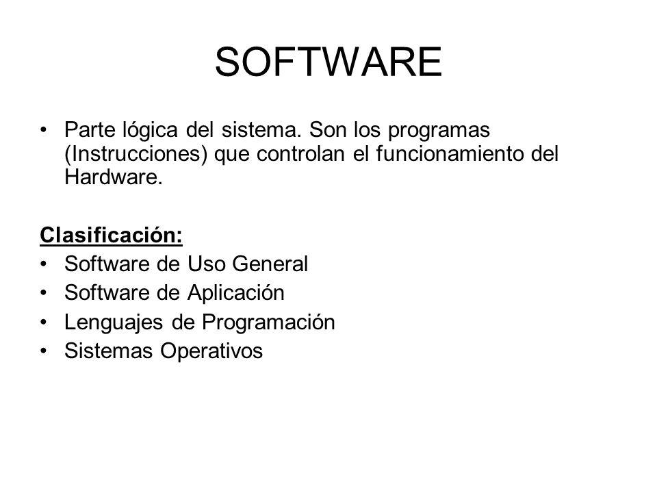SOFTWARE Parte lógica del sistema. Son los programas (Instrucciones) que controlan el funcionamiento del Hardware. Clasificación: Software de Uso Gene