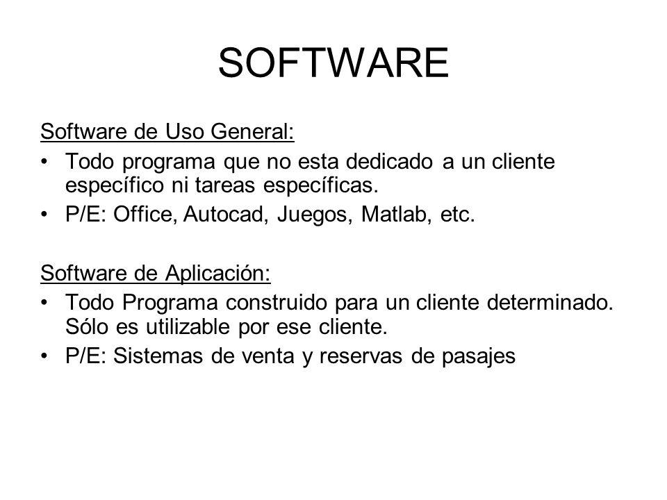 SOFTWARE Software de Uso General: Todo programa que no esta dedicado a un cliente específico ni tareas específicas. P/E: Office, Autocad, Juegos, Matl